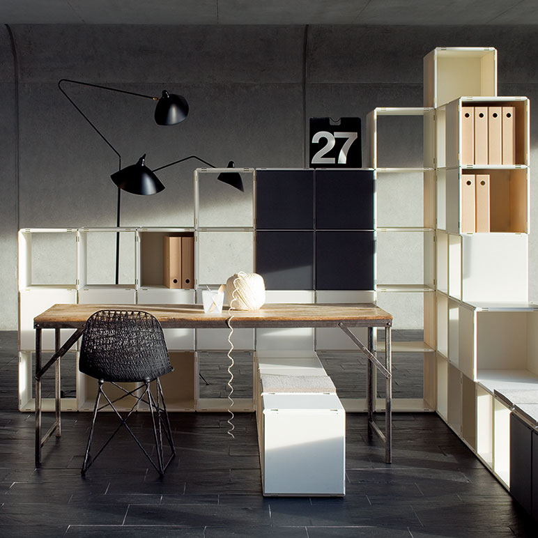 Kreative Einrichtungsideen Büro ~ qubing Büroregal weiß mit Türen