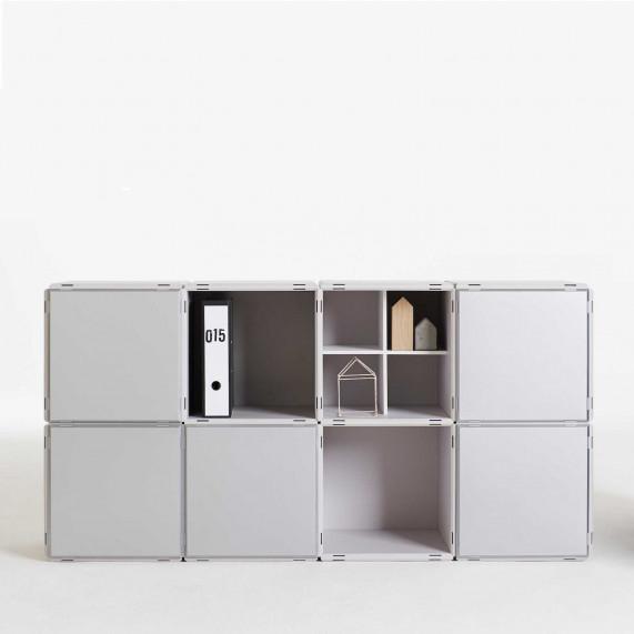 Büroregal modular in grau und silber