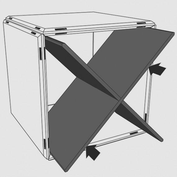 Das Ordnungskreuz diagonal viertelt ihren Regalwürfel von qubing