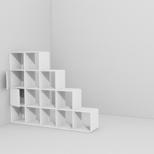 Das Design Raumteiler Regal besteht aus einem Grundelement und funktioniert als Stecksystem
