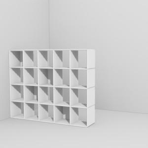 Das modulare Regalsystem qubing lässt individuell planen und jederzeit erweitern - hier im Einsatz als Raumteiler