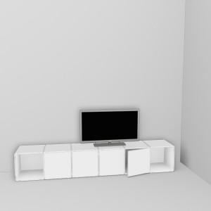 Das Würfelregal als TV Regal besteht aus fünf Cubes offen oder geschlossen mit Tuer
