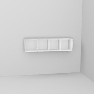 qubing Wandregal mit 4 Würfel horizontal weiß