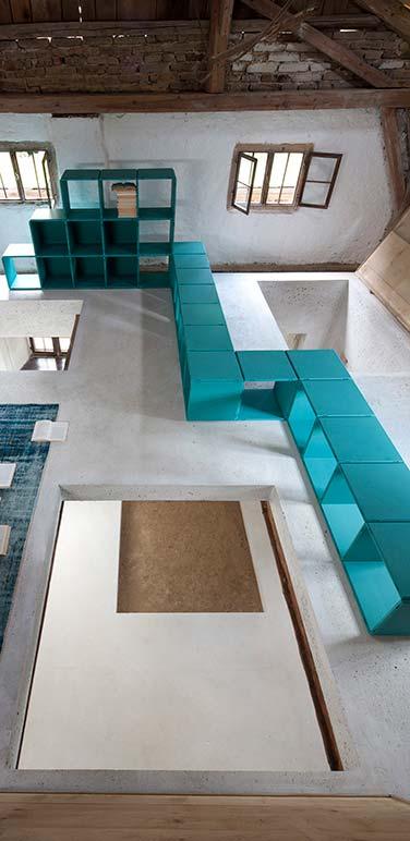 modulares Designer Regal türkis