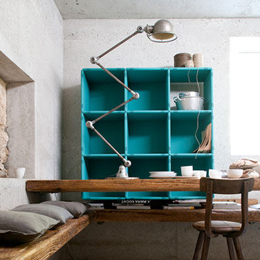 qubing cube shelf with doors in turquoise