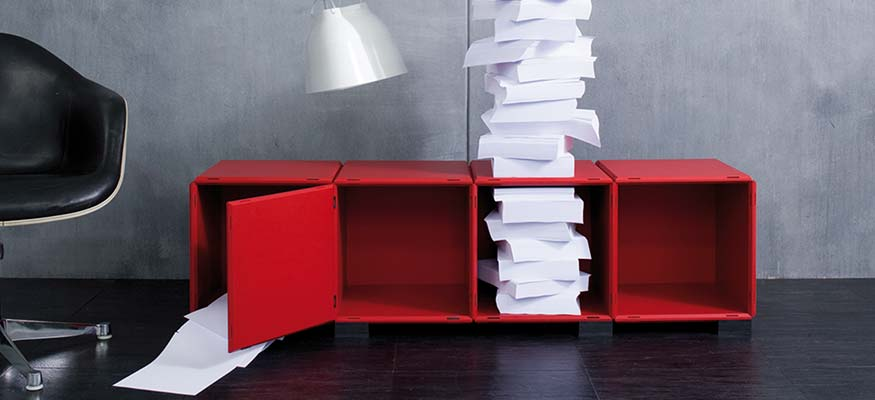 Sideboard weiß, schwarz und rot